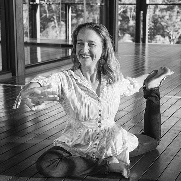 Celia Roberts practicing yog pose