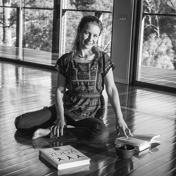 Celia Roberts studying yoga and meditation