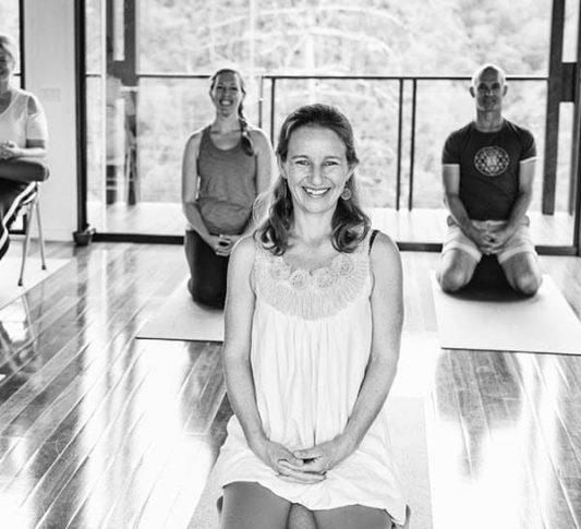 Enjoying yoga training